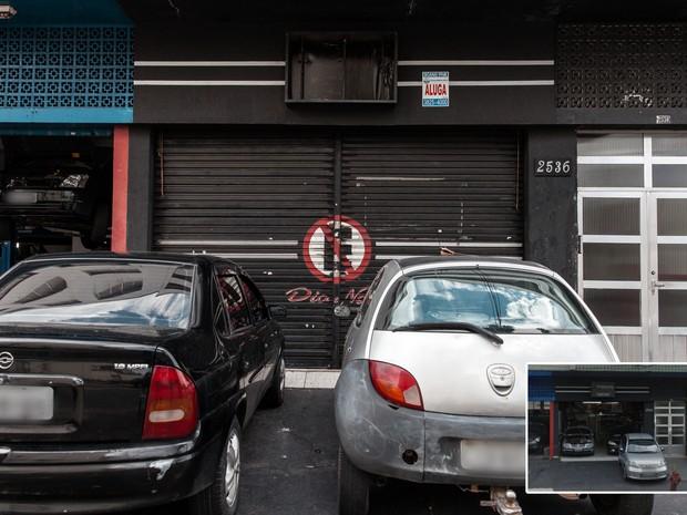 Imóvel que abrigava uma loja de carros é desocupado e ofertado para aluguel em avenida de São Caetano do Sul (Foto: Marcelo Brandt/G1 e Google Street View)