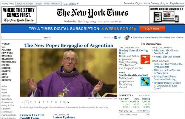 New York Times noticou o novo Papa na capa  (Foto: Reprodução/NYT)