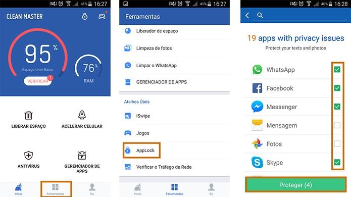 Acesse a ferramenta de App Lock no Clean Master pelo Android (Foto: Reprodução/Barbara Mannara)