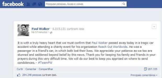 MENSAGEM POSTADA PELOS PUBLICITÁRIOS DE PAUL WALKER EM SUA PÁGINA OFICIAL, NO FACEBOOK, CONFIRMANDO A MORTE DO ATOR (Foto: Reprodução/ Facebook)
