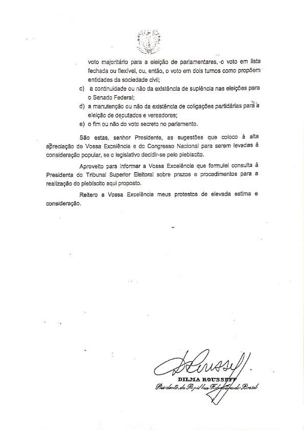 Mensagem de Dilma ao Congresso (terceira página) (Foto: Reprodução)
