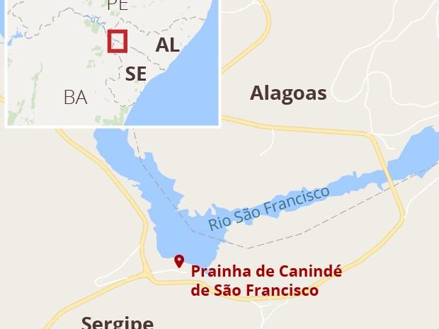 Mapa Prainha de Canindé de São Francisco (Foto: G1)