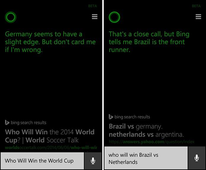Cortana aposta na vitória da seleção alemã na final (à esquerda) e que Brasil ficará com o terceiro lugar da Copa (à direita) (Foto: Reprodução/Elson de Souza)