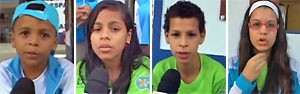 Crianças elaboram carta para a Terra (Andressa Gonçalves e Mariucha Machado/G1)