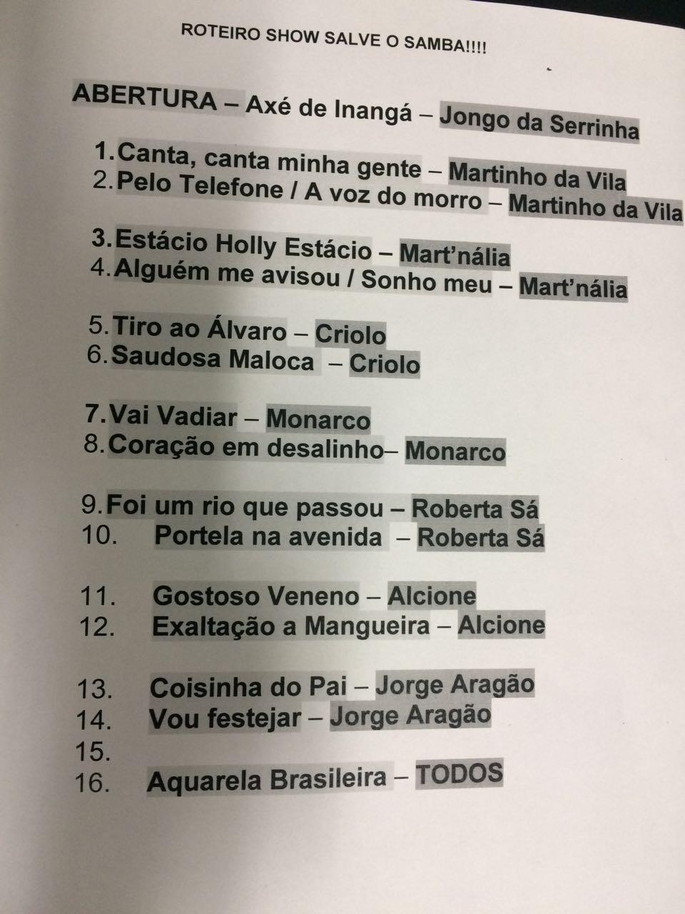 Setlist do show Salve o Samba! (Foto: Reproduo)