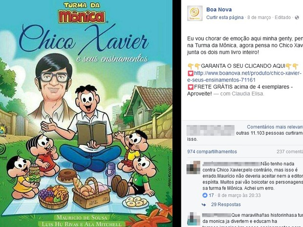 Livro Chico Xavier Turma da Mônica (Foto: Facebook/Reprodução)