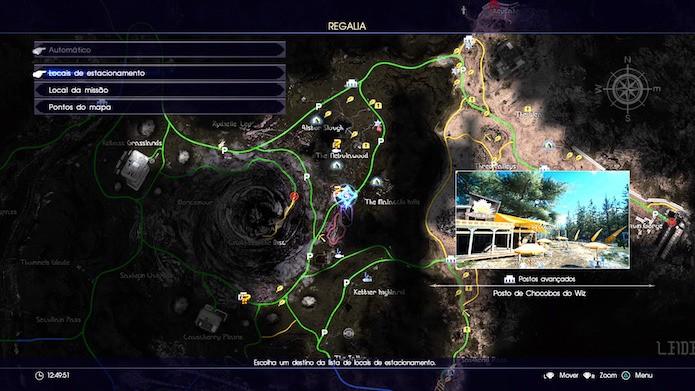 Final Fantasy XV: vá em Locais de Estacionamento no menu do mapa (Foto: Reprodução/Victor Teixeira)