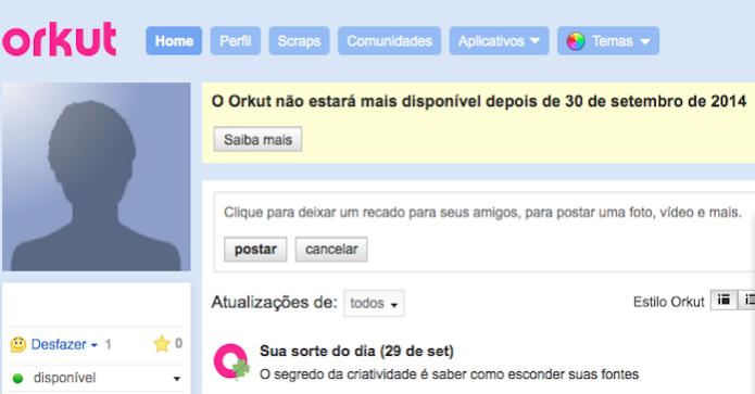 Fim do Orkut, rede social avisa que não estará mais no ar a partir de outubro (Foto: Reprodução/Google)