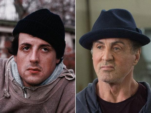 Sylvester Stallone como Rocky Balboa em 'Rocky: Um lutador (1976) e 'Creed: Nascido para lutar' (2015) (Foto: Divulgação/Warner Bros. Pictures e NMetro-Goldwyn-Mayer Pictures)