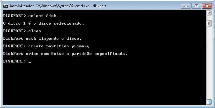 Criação de partição no pendrive pelo MS-DOS (Foto: Reprodução/Raquel Freire)
