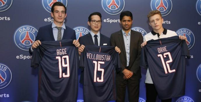 Agge; YellOwStaR; DaXe; PSG eSports (Foto: Divulgação / Site oficial do Paris Saint-Germain)