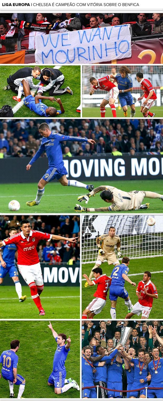 mosaico Chelsea campeão Liga Europa 2 (Foto: Editoria de Arte)