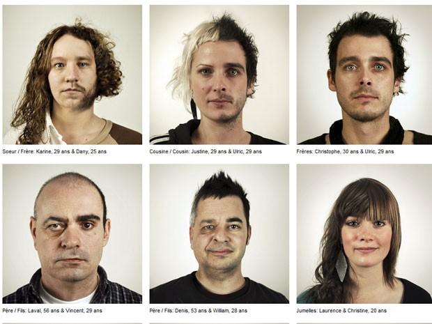 Imagens de rostos foram montadas com parentes da mesma família. (Foto: Reprodução)