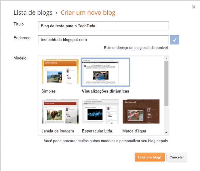 Novo blog deve ter título, endereço e um layout para ser criado (Foto: Reprodução/Blogger) (Foto: Novo blog deve ter título, endereço e um layout para ser criado (Foto: Reprodução/Blogger))