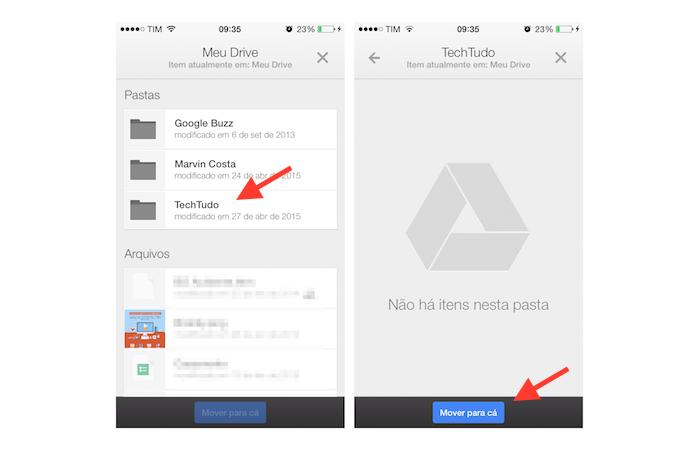 Movendo um arquivo para uma pasta criada no Google Drive para iPhone (Foto: Reprodução/Marvin Costa)