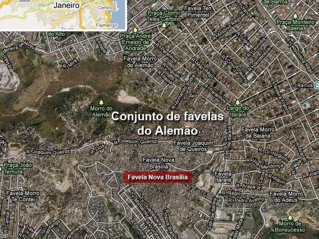 Nova Brasília e Fazendinha foram as primeiras comunidades a receber UPP no Conjunto de Favelas do Alemão (Foto: Editoria de Arte / G1)