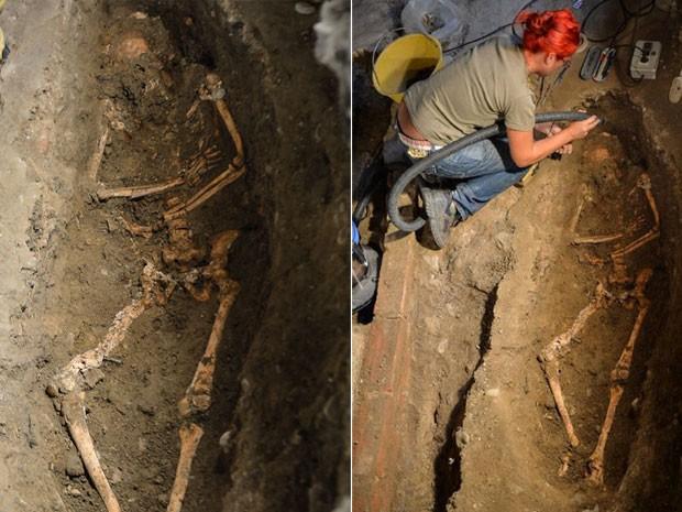 Esqueleto encontrado no último dia 17 de julho em convento de Florença, na Itália, que pode ser da suposta modelo que posou para Leonardo da Vinci durante a produção da Mona Lisa. (Foto: Andreas Solaro/AFP)