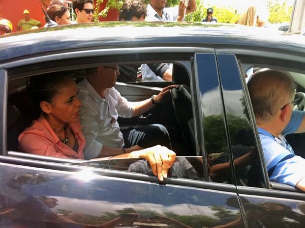 Marina Silva chega a evento em Sobral (CE) acompanhada de Beto Albuquerque (Foto: Gioras Xerez/G1)