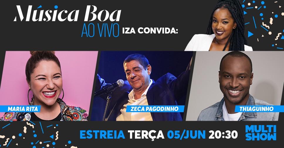 Iza recebe Maria Rita, Thiaguinho e Zeca Pagodinho na estreia do Msica Boa Ao Vivo, dia 5 de junho (Foto: Divulgao/Multishow)