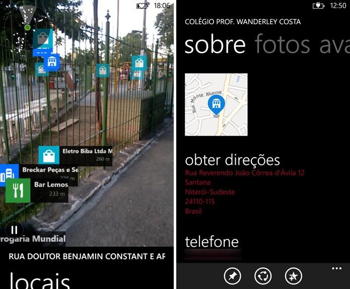 Here Maps exibe informações utilizando câmera do dispositivo, onde é possível ter acesso a detalhes de locais (Reprodução/Elson de Souza)