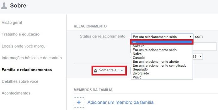 Altere a privacidade do status de relacionamento no Facebook (Foto: Karla Freire)