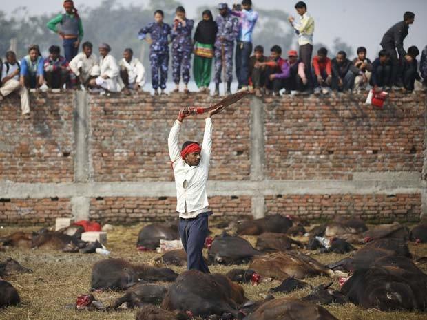 Participante de festival religioso no Nepal exibe sua espada após o sacrifício de búfalos nesta sexta-feira (18) (Foto: REUTERS/Navesh Chitrakar)