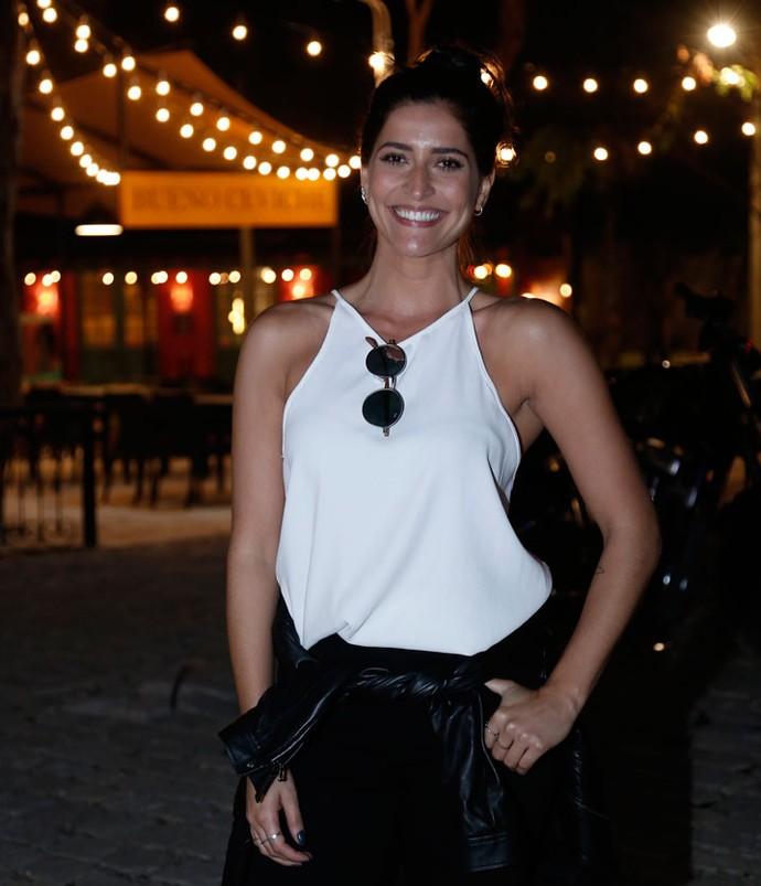 Maria Joana se juntou aos amigos de 'Sol Nascente' para essa estreia (Foto: Raphael Dias / Gshow)