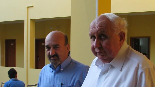 presidente do São Bento Sorocabba, Fernando Martins da Costa Neto e  o vice, Agacyr Maister (Foto: Rafaela Gonçalves / GLOBOESPORTE.COM)