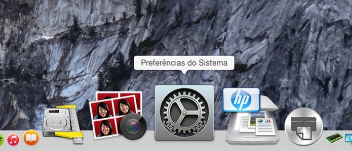 Clique no ícone de preferências do Sistema (Foto: Reprodução/André Sugai)