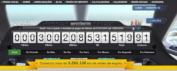 Impostômetro chegou à marca dos R$ 300 bilhões nesta qsexta (Foto: Reprodução)