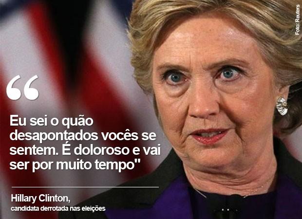 Discurso de Hillary após derrota para Donald Trump nas eleições presidenciais dos EUA (Foto: Reuters)