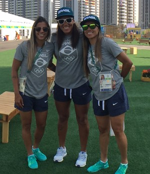 Fabiana, Barbara e Marta, seleção feminina, futebol (Foto: Richard Souza)