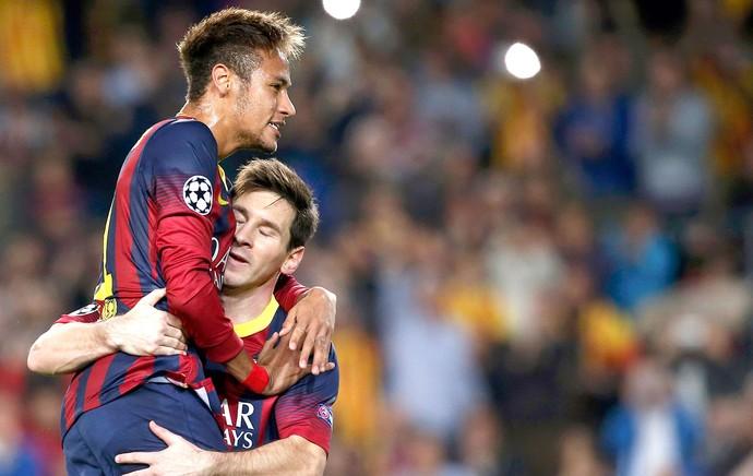 Neymar e Messi comemoração Barcelona jogo Milan Liga dos Campeoes (Foto: Reuters)