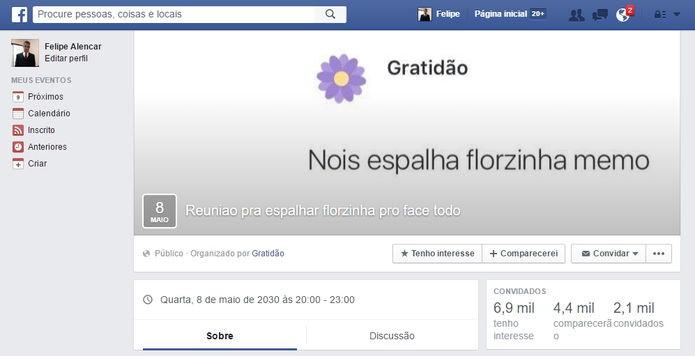 Até eventos foram marcados no Facebook (Foto: Felipe Alencar/TechTudo)