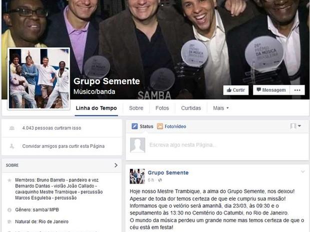 Grupo Sementem lamenta morte do músico Trambique (Foto: Reprodução / Facebook do Grupo Semente)