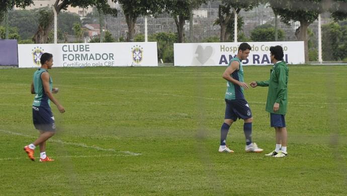 Erik e Fred, jogadores do Goiás (Foto: Guilherme Gonçalves/GloboEsporte.com)