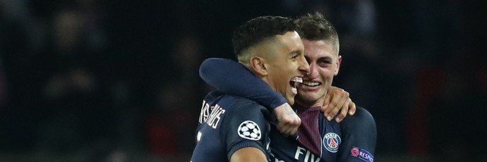 Marquinhos comemora gol do Paris Saint-Germain PSG com Verratti (Foto: Reuters / Christian Hartmann Livepic)