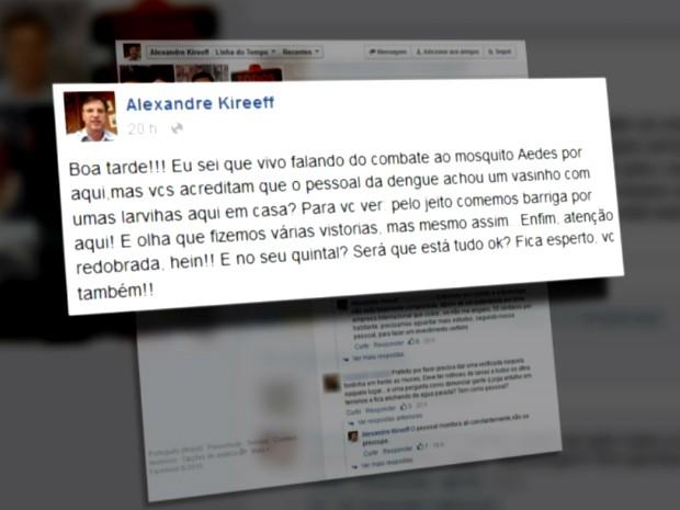 Prefeito comentou sobre vistoria de agentes de endemia na tarde de segunda-feira (Foto: Reprodução RPC)