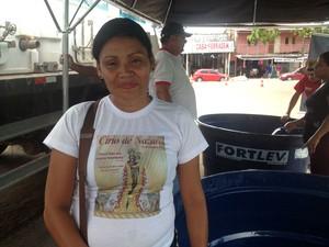 Psicultora Natalina Barros diz que comercializou cerca de uma tonelada de peixes Peixe vivo, projeto, Macapá, prefeitura (Foto: Jéssica Alves/G1)