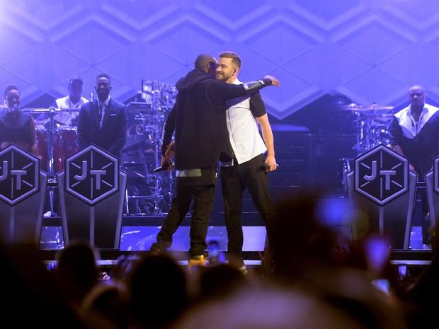 Jay-Z e Justin Timberlake em Nova York, nos Estados Unidos (Foto: Stephen Lovekin/ Getty Images/ AFP)