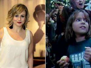 Duda Little em 2015 e em 1990 quando participou do filme Lua de Cristal (Foto: Roberto Teixeira/EGO e Reprodução/internet)