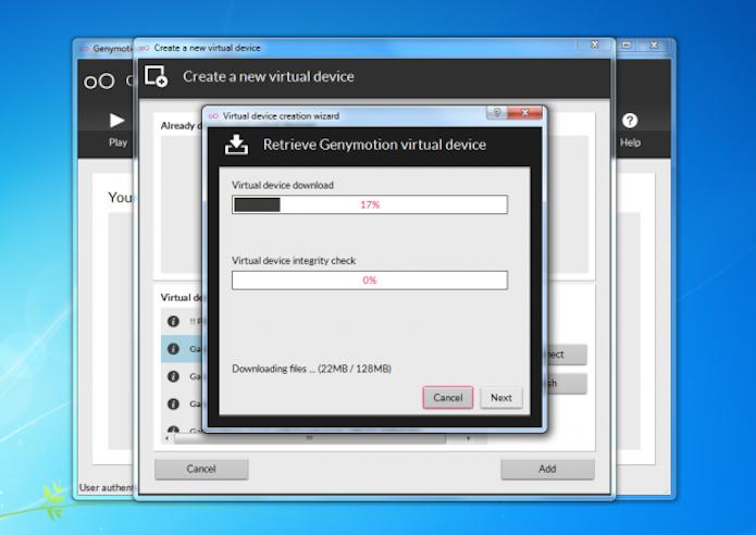 Download do pacote de dados no Genymotion (Foto: Reprodução)