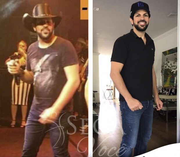 Sorocaba antes e depois de perder 11kg (Foto: Reprodução/Instagram)