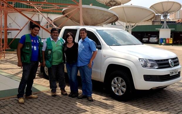 Edno Reis, Maríndia Moura, Hélio Santiago e Gladson Souza participam de expedição pela BR-319 (Foto: Angelina Ayres Medeiros/Rede Amazônica)