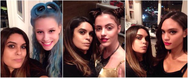 A cabeleireira e maquiadora Vivi Gonzo com as modelos Hellen Beatryce, Joamma Coimbra e Ana Beatriz Reis mostram passo a passo de penteados inspirados nas dicas do Rock in Rio 2015 (Foto: EGO)