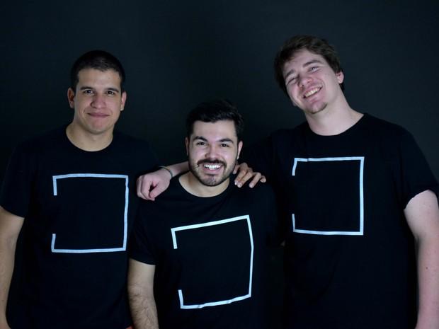 A equipe do curta-metragem Luciano Albuquerque, Gustavo Nakao e Lucas Meyer. (Foto: Divulgação/Muvk)
