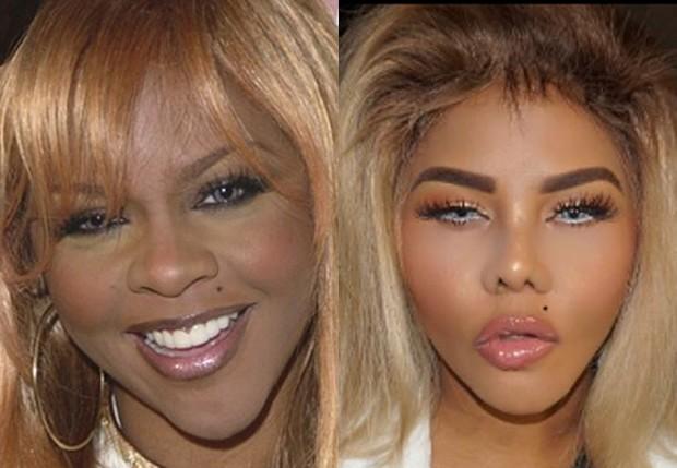Lil Kim em 2001 e em maio de 2017 (Foto: Reprodução)