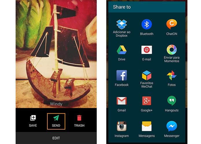 App Camu oferece botão direto para compartilhamento das fotos nas redes sociais (Foto: Reprodução/Barbara Mannara)
