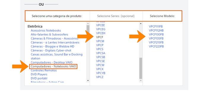 Use as categorias para encontrar seu notebook Sony Vaio (Foto: Reprodução/Barbara Mannara)