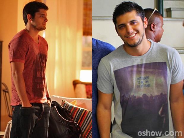 André é cheio de estilo e faz lindas produçõs com suas camisetas (Foto: Em Familia/TVGlobo)